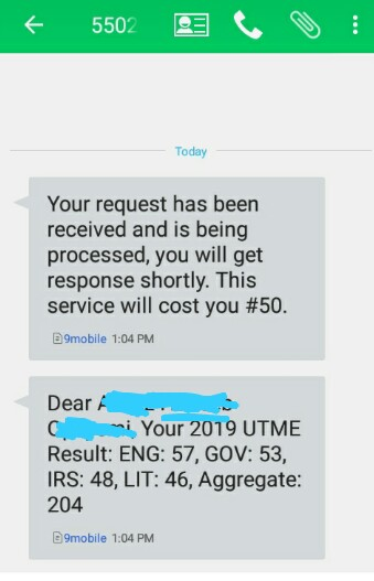 check jamb result via sms